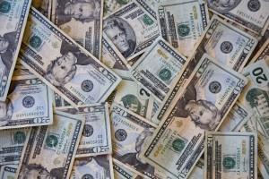 Piles of twenty dollar bills